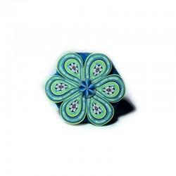 Bague fleur verte et bleue...
